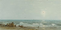 driftwood on the shore (possibly new jersey) by william trost richards