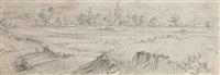 paysage de campagne, une ville à l'arrière-plan by vincent laurensz van der vinne the elder