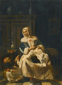 a mother and child in an interior by jan van pee