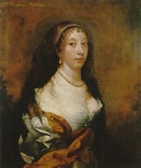 portrait of frances fairfax, half length, wearing a white satin dress and orange robes by john scougall