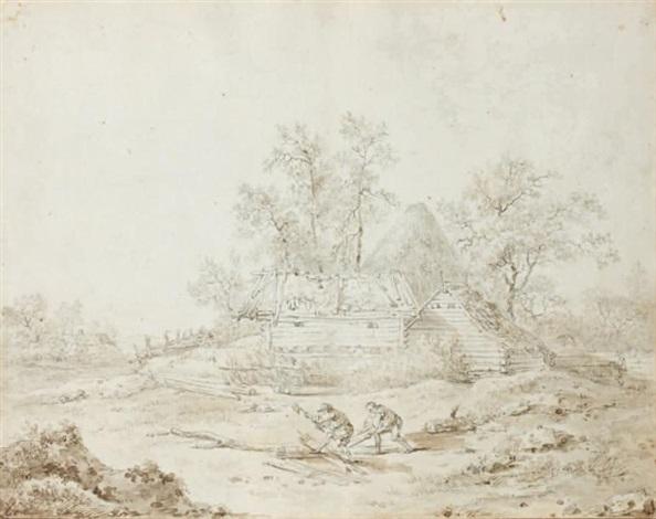 les bucherons et un cavalier abreuvant son cheval dans une rivière pair by jean baptiste le prince