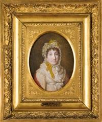 marie letizia bonaparte, mère de l'empereur napoléon ier en buste de face, portant un bonnet en dentelle, revêtue d'une robe blanche et d'un châle écarlate by jean antoine laurent