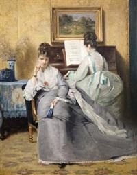 jeunes filles au salon de musique by louis charles verwee