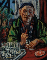 self portrait in bar by herbert fiedler