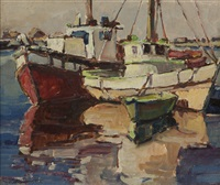 boats docked near balboa island by helen m. smith