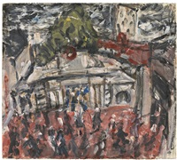 embankment station and hungerford bridge i by leon kossoff