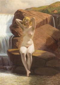 nude by waterfall by wilhelm pacht