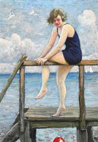 a bathing beauty looking for the red ball by paul gustave fischer