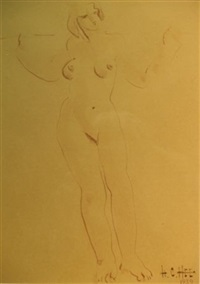 nude and portrait study (+ 4 others; 5 works, various sizes) by hon chew hee