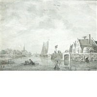 boats in an estuary with a city in the distance by theodor (dirk) verryck