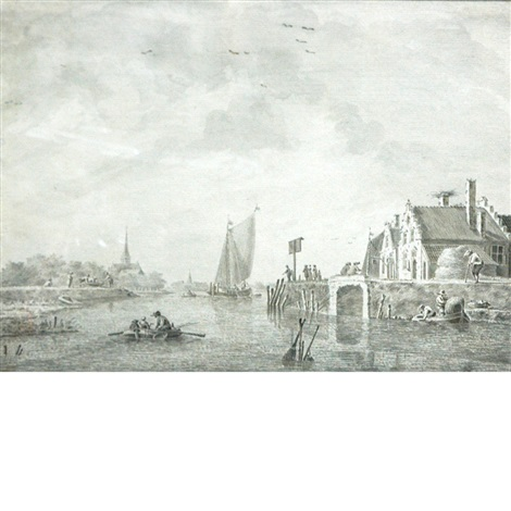 boats in an estuary with a city in the distance by theodor dirk verryck