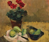 still life with pot plant and pears on a table by carl fischer