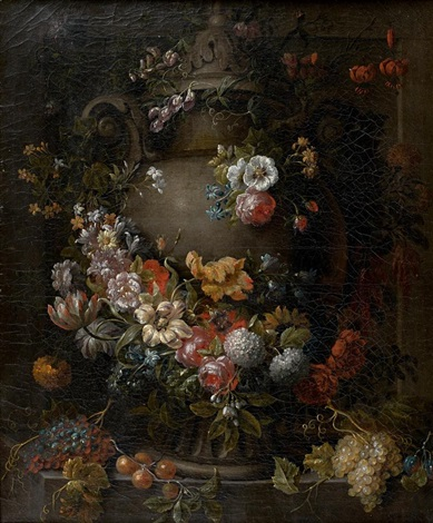 guirlande de fleurs entourant une vasque by gaspar pieter verbruggen the younger