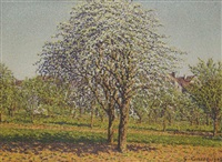 les pommiers en fleurs by gustave camille gaston cariot