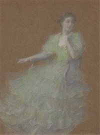 green and gold by thomas wilmer dewing