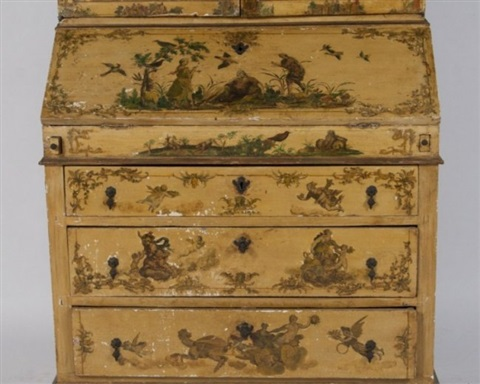baroque style painted secretary bookcase 19th c