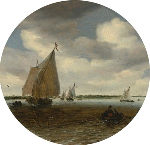 shipping in a choppy sea by salomon van ruysdael