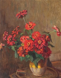 vase with zinnia by constantin artachino