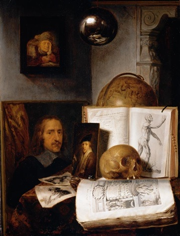 still life of books prints paintings a skull shell and a globe upon a table draped with a green cloth a sphere and a painting hanging above by simon luttichuys