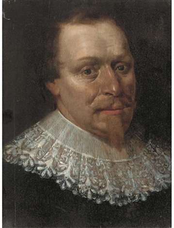 portrait of a man bust length by werner van den valckert