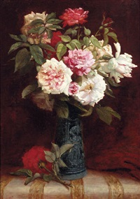 roses in a vase on a mantle by martial hupe