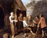 peasants drinking and playing cards near an inn by francois van aken