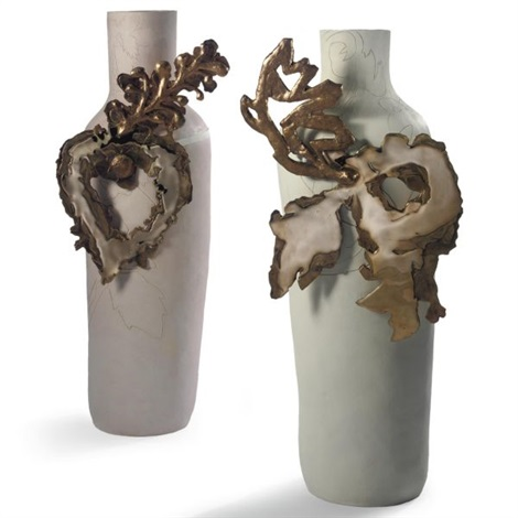 two jackpot vases from the layers collection for maharam set of 2 by hella jongerius