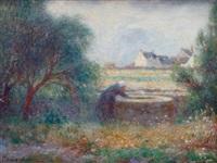 bretagne, paysanne près du puis by ferdinand puigaudeau