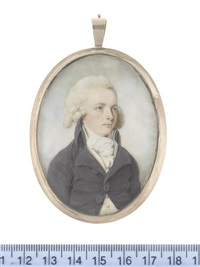 a gentleman, wearing charcoal coat, cream waistcoat, white stock and cravat, his wig powdered by thomas hull