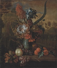 a torch lily, agapanthus, proteas, trumpet vine and marigolds in a kraak porcelain vase by karel borchaert voet