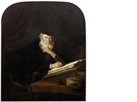 a philosopher seated at his desk by salomon koninck