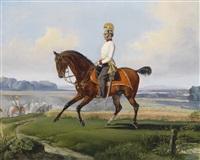 oberleutnant theodor v. klein (zehlendorf 1803-1863 geltschberg) in der uniform des k. k. dragonerregimentes nr. 3 auf einem übungsritt by albrecht adam