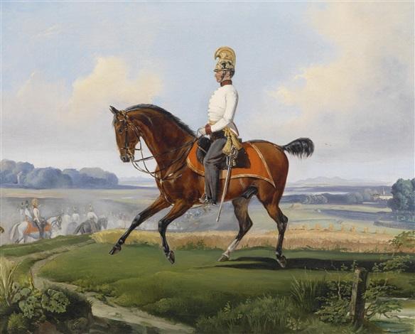 oberleutnant theodor v klein zehlendorf 1803 1863 geltschberg in der uniform des k k dragonerregimentes nr 3 auf einem übungsritt by albrecht adam