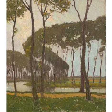 poplars bruges belgium by charles warren eaton