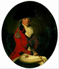 portrait of an officer in mess uniform, seated on a green chair, holding a gold topped malacca cane by francesco renaldi
