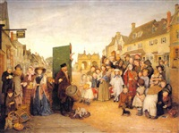 market scene, with a performance of punch by edward thompson davis