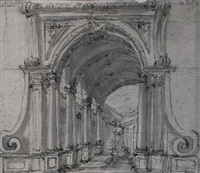 a design for the stage: a fountain at the end of a colonnade by filippo juvara