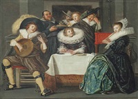 a merry company making music by dirck hals