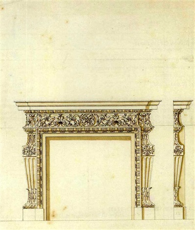 design for a chimney piece for thomas coke 1st earl of leicester for holkham hall norfolk by william kent