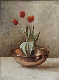 still life with tulips in a vase by harry kluge