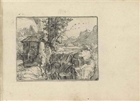 landscape with a waterfall (after hendrick goltzius) by lukas kilian