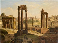 a view of the roman forum from the capitoline hill by michelangelo pacetti