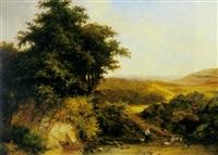 paysage vallonnée avec bergère by desire lesij