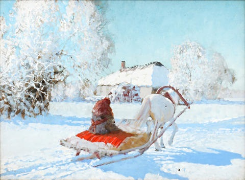 russian peasant and horse in the snow by andrei yakovlev