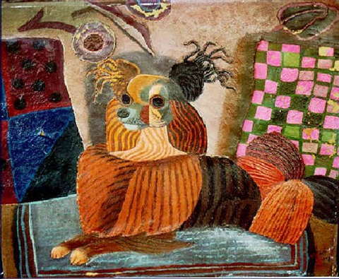 chum a modernist composition with dog in an interior by madelaine pereny