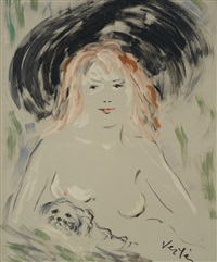showgirl with puppy by marcel vertès