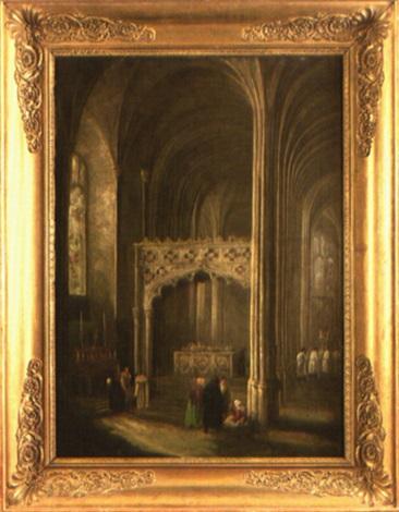 intérieur déglise gothique animé de personnages by henry milbourne