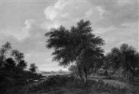 a heath landscape with figures near houses, and a man and dog on a track by gerrit van hees