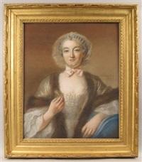 portrait d'une dame de qualité, en buste, de trois-quarts, portant une robe bordée de fourrure et tenant dans la main droite une navette à filer by françois hubert drouais