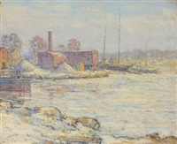 cos cob in winter, a view from the bush-holley house by elmer livingston macrae